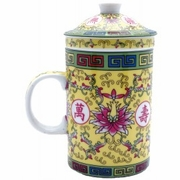 Tea Cup with Lid and Diffuser Traditional Yellow