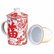 Tea Mug with Lid and Strainer  Good Fortune   Red and White