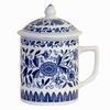 Tea Mug with Lid  Blue and White Floral