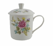 Tea Mug with Lid Ceramic Peony Design