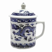 Tea Cup with Lid  White and Blue Dragon