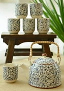 Tea Set Ceramic Blue Flora Design
