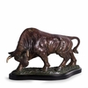 The Bull Bronze Sculpture on Wood Base