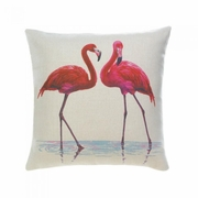 "Flamingo Couple Decorative Throw Pillow  17"" x 17"""