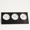 Triple Time Zone Executive Desk Top  Clock Black Leather
