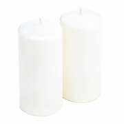 """Unscented White Pillar Candle Duo  3 x 6""""h"""