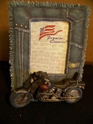 Vintage Cast Motorcyle Frame Denim Fringe Look  4 x 6 Photo