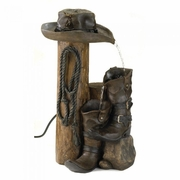 Water Fountain Wild Western  Cowboy Hat and Boots    FREE SHIPPING