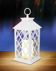 White Crisscross LED Candle Lantern