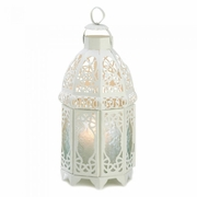 "White Lattice Candle Lantern  12""h"