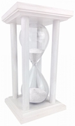 White Square Hourglass with White  or Black Sand