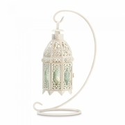 White Tealight Lantern with Stand