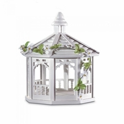 White Wood Gazebo Birdfeeder