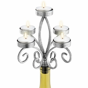 Wine Bottle Candelabra for Tea Lights Scroll Silver Color