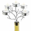 Wine Bottle Candelabra Silver Branches   5 Tealights