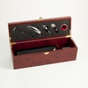 Wine Bottle Holder with 5pc Bar Accessory Set in Rosewood Finish Box