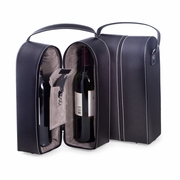 Wine Caddy with Bar Tool  Black Leather