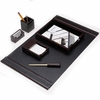 Wood and Black Leather Desk Set   6pc
