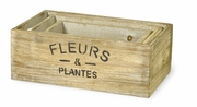 Wood Flowers Rectangular Nesting Crates  3pc