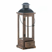 "Wooden Candle Lantern with Drawer  Large  27-1/2"" h"