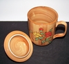 Woodlike Ceramic Floral Design Mug with Lid  10 fl.oz.