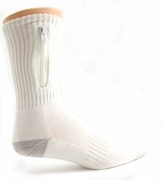 Zipper Pocket Socks   White  9-11