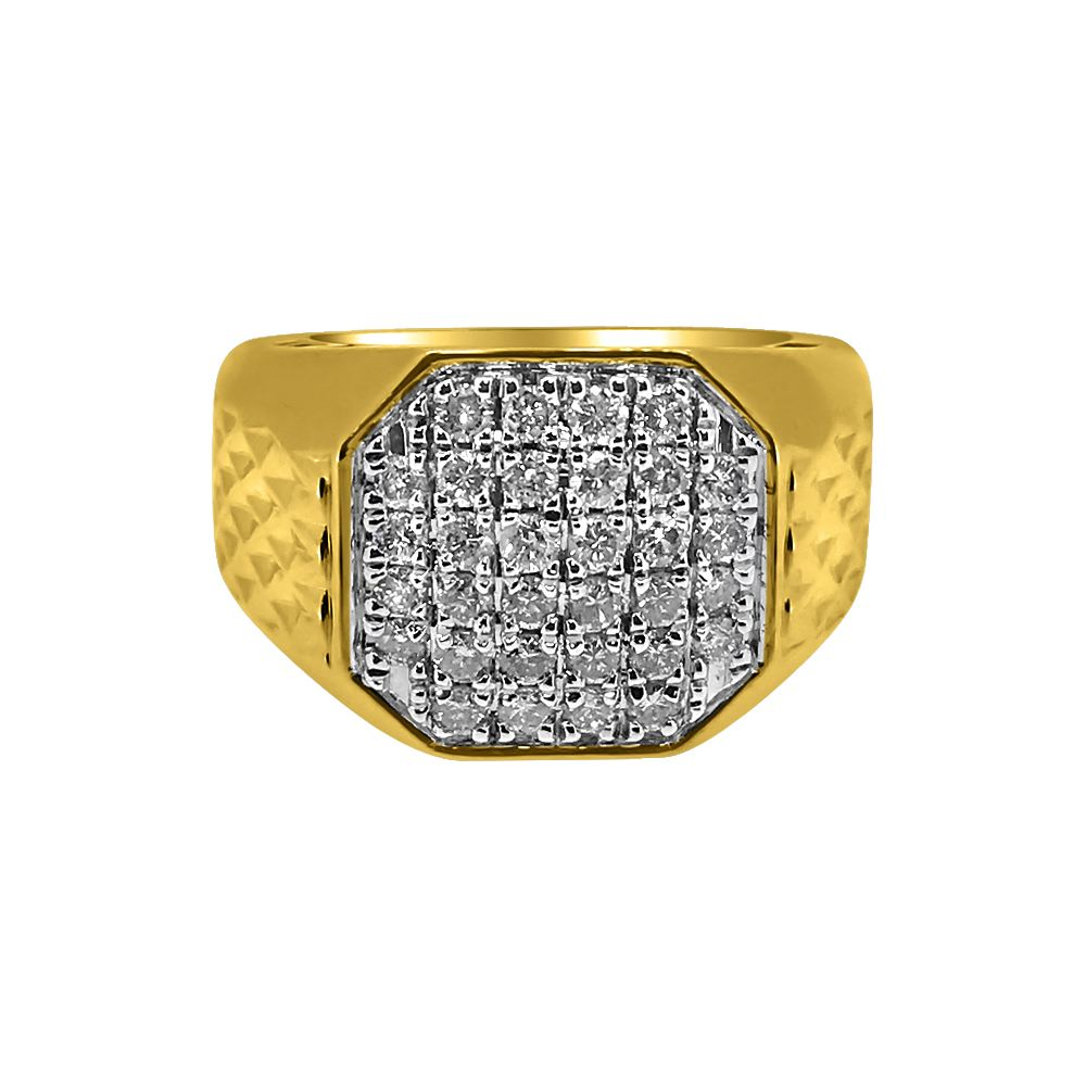 1 00cttw octagon 10k yellow gold mens ring 10k