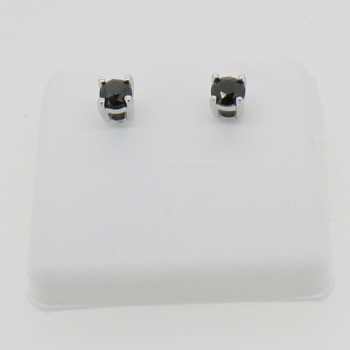 1.00cttw Black Diamond Earrings Studs 10K Gold