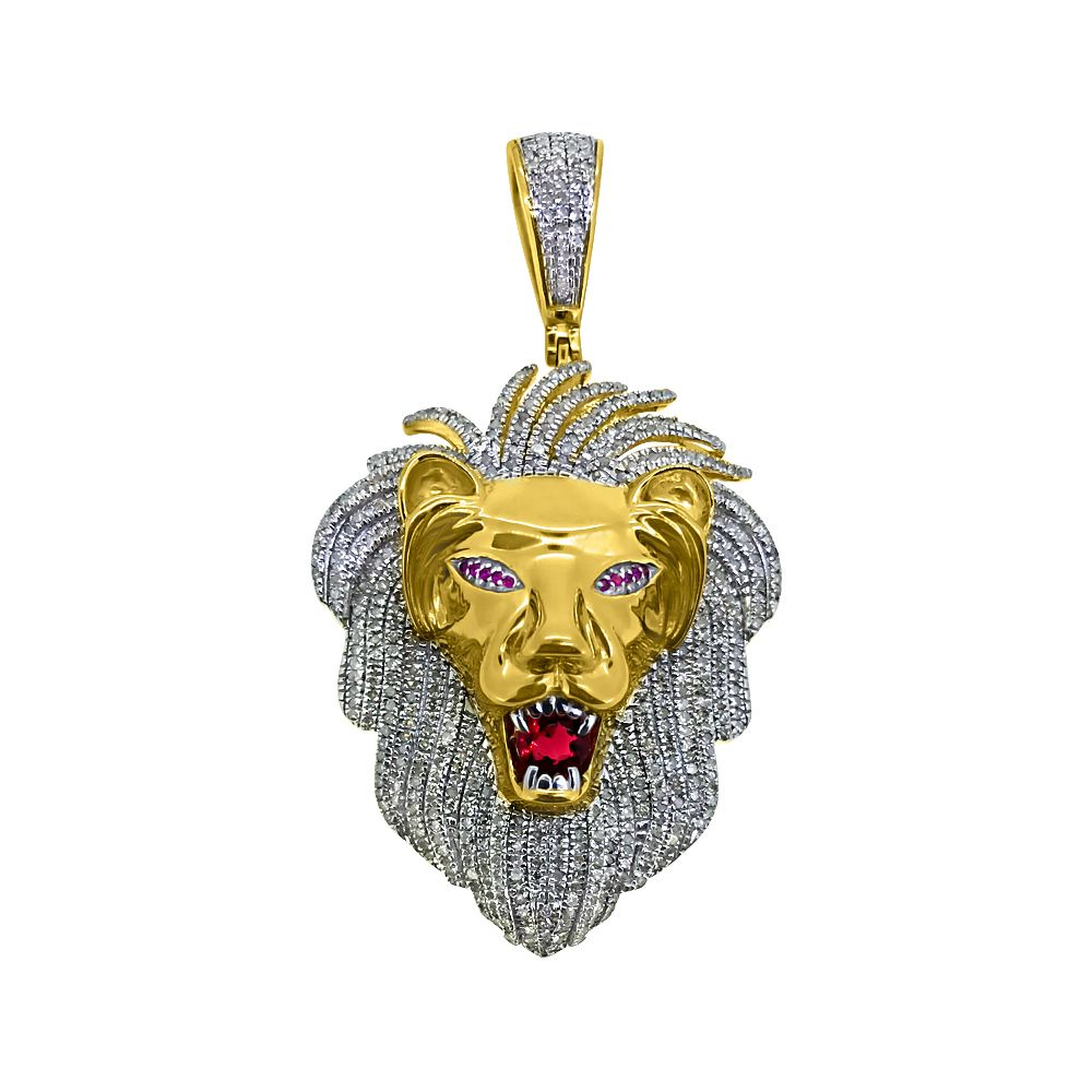 925 silver diamond pendants sterling silver jewelry 160cttw diamond large lion head pendant gold 925 silver mozeypictures Gallery