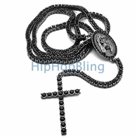 1 Row Bling Bling Rosary Black on Black