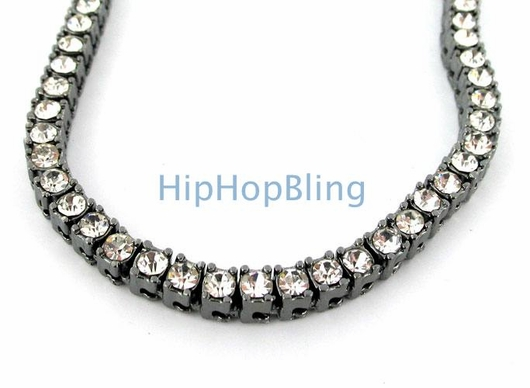 1 Row Chain White Stones on Black Necklace