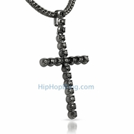 1 Row Hematite Black Bling Bling Cross