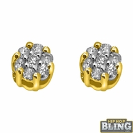 .10cttw Diamond Cluster Hip Hop Earrings 10K Yellow Gold
