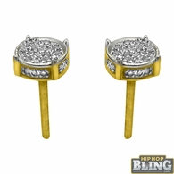 10K Gold 3D Circle Earrings .12cttw Diamonds