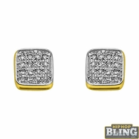10K Gold Cushion Box Earrings .06cttw Diamonds