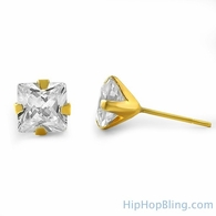 10K Solid Gold Round CZ Stud Earrings