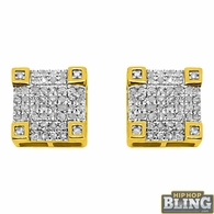10K Yellow Gold .31 Carat Diamond Fancy Box Earrings