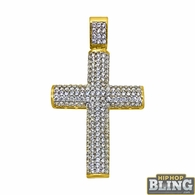 10K Yellow Gold CZ Rounded Small Bling Cross