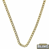 10K Yellow Gold Diamond Cut 3MM Cuban Chain