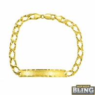10K Yellow Gold Diamond Cut Cuban ID Bracelet