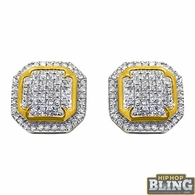 10K Yellow Gold Fancy Octagon .30cttw Diamond Earrings