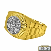 10K Yellow Gold Presidential CZ Mens Ring