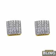10K Yellow Gold Rounded Box .18cttw Diamond Earrings