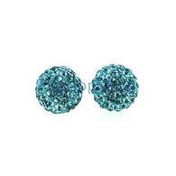 10mm Aqua Bling Bling Disco Ball Iced Out Earrings