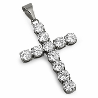 10MM Big Bling Lab Made Cross Stainless Steel