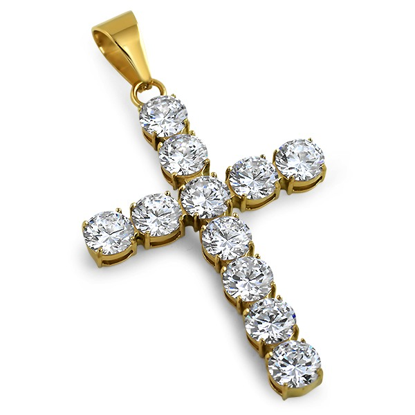 10mm big lab made cross gold 316l steel stainless steel for Custom lab made hip hop jewelry