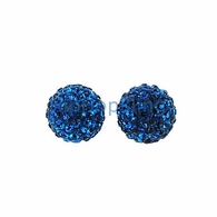 10mm Blue Iced Out Disco Ball Bling Bling Earrings