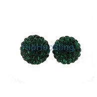 10mm Green Bling Bling Disco Ball Iced Out Earrings