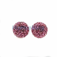 10mm Pink Bling Bling Disco Ball Iced Out Earrings