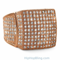 11 Row Rose Gold CZ Bling Bling Ring